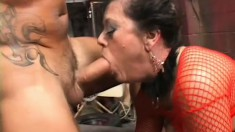 Lustful mature lady with big boobs gets fucked hard and rough by two horny guys