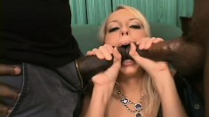 Desirable blonde in lingerie getting double drilled by two black men