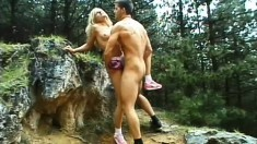 Desirable blonde Dori gets her peach eaten out and fucked in the woods