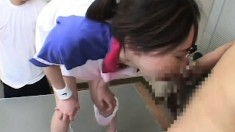 Cute girl reveals her oral skills and gets her mouth filled with semen