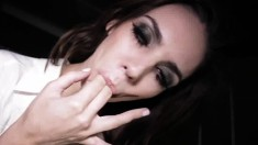 Tiffany Tyler savors the sweet taste of her pussy all over her fingers