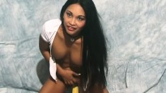 Tina does a striptease and shows you her goods before she toys her cunt