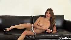 Sexy babe Charmane Star knows what guys like and talks about it on the couch