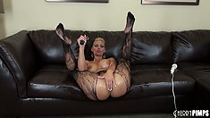 Phoenix Marie has huge oily hooters and looks hot in her sexy lacy stockings