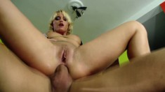 Cathy Campbell gets into a fuck fest with a stud and begs for anal