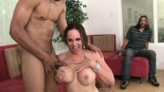 Curvy brunette wife Raquel Sieb is introduced to sex with a black stud