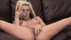 Vanessa Gold is excited to drill her wet velvet purse with a toy