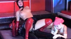 Nicole and Katrin are the slaves who get fingered by their master