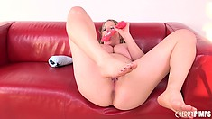 Maggie Green toys her twat and oils up her bodacious boobies