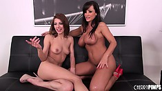 Pale lesbian teenie oils up a sexy amazonian cougar's thick ass