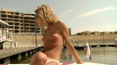 Blonde with a nice as gets it fingered and drilled out under the sun