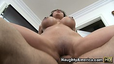 Bending over on the couch, Alexis gets her pussy fucked hard and deep from behind