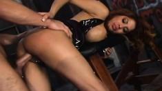 Bodacious Latina Alexis Amore fucks a big pole like only she knows how