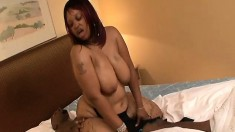Chubby ebony gives great head and he slides it into her wet slit