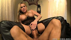 Blonde MILF hottie raises a ruckus sucking and fucking his meat