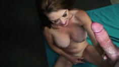 Wild milf with big tits Raquel Devine rubs her slit and strokes a cock
