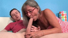 Wild Mature Lady With Glasses Wraps Her Lips Around Her Stepson's Dick