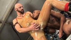 Interracial gay lovers Tyson Tyler and Leeroy Lelleck enjoy rough sex