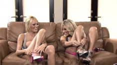 Two ravishing blondes lose their panties and indulge in lesbian love