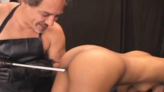 Hot ebony Kim gets checked out by Dr Sparky and eats his rod