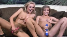 Ally Kay and Victoria White play with sex toys and share a thick cock