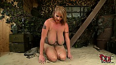 Using the sex toy to drill her holes nice and deep, the cougar satisfies her needs