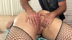 Fat Chick In Fishnet Stockings Gets Sexually Fulfilled With Sex Toys