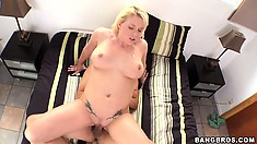 Blonde babe with a massive butt takes a cock down to the root