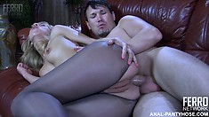 Nylon whore Felicia C doesn't waste time on pussy fucking and goes straight to anal