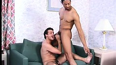 The white man offers Dennis a great blowjob and gets fucked hard from behind