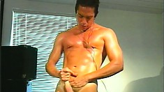 The sexy Marc Sabre polishes his big meaty sword till he cums