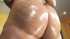 Blonde with an amazing ass oils up and gets banged balls deep