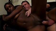 Lovely black babe with a superb ass gets on top of the white stud and rides his cock