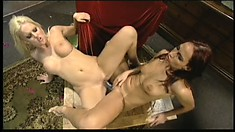 A double dildo jammed into stacked lesbians' pussies and asses