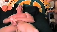 Two horny bikers find a young piece of meat and make a gay sandwich