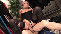 Luscious mature lady with big boobs gets fucked rough by a young stud