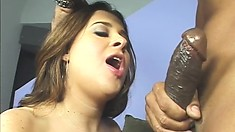 Hung black charmer gets to stick it up this bimbo's bunghole