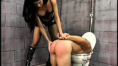 Jailer Leah Wilde whips this nasty prisoner into a whimpering sissy