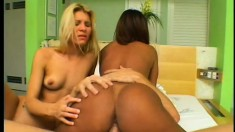 Going anal with two hot bitches in a POV interracial sex video