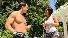 Lovely brunette hottie Vanessa Leon gets dirty after washing a car