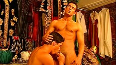 Handsome studs make out and fuck inside of an all male harem