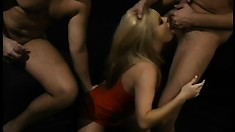 Alicia Rhodes gets some stiff man meat in every orifice on her body