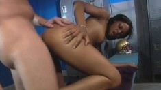 Slim black girl with small tits Marie Luv has a football player fucking her peach