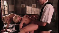 Slutty blonde seduces her lawyer and has him fucking her pussy like she deserves