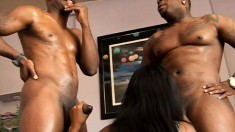 Charismatic ebony babe with big sagging tits services two stone-hard crooks