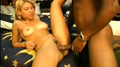 Exotic blonde broad gets her ass filled with a big dark pole