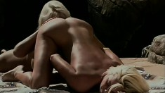 Hot sunbathing blondes go for pussy eating and fuck with a strapon