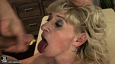 She rides him and gets face fucked and then sucks out his cum