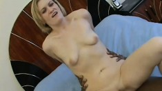 Cute white skinned blond fucks the biggest blackest cock ever