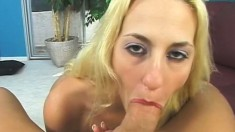 Pretty blonde with big hooters sucks and fucks a long prick POV style